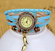 Women's Fashion High Heel knitting Leather Bracelet Watch(Assorted colors)