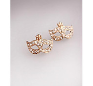 Fashion Mask Imitation Diamond Gold Plated Clip,Stud Earrings for Women in Jewelry