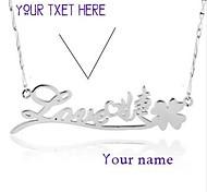 Nome 925 prata de quatro folhas do trevo colar personalizado liwuyou ™