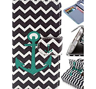 Green Wave Anchor Pattern PU Leather Cover and Touch Pen with Diamond Dust Plug for LG G2 MINI