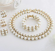 Vintage Chunky Choker Pearl Necklace sets Pearl Jewelry Wedding Jewelry Sets For A054