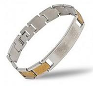 Men's Fashion Personality Titanium Steel Golden Splicing Bible Bracelets