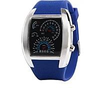 rpm turbo blu& Flash led bianchi nuovissimo orologio sportivo regalo metro auto quadrante uomini