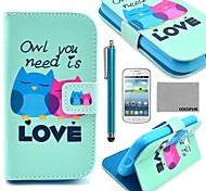 coco fun® caduta nel modello di amore gufo cassa di cuoio dell'unità di elaborazione con la pellicola e lo stilo per Samsung Galaxy Lite tendenza