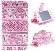 The Elephant Design Restoring Ancient Ways PU Leather Case with Card Slot and Stand for iPhone 4s
