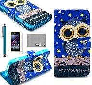 COCO FUN® Night Star Owl Pattern PU Leather Case with Screen Protector and Stylus for Sony Xperia Z1 mini Compact D5503
