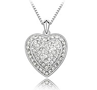 Fall in Love Lady's Short Necklace Plated With 18K True Platinum Clear Crystallized Austrian Crystal Stones