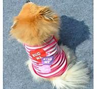 Gatos / Perros Camiseta Rosado / Morado Verano Corazones / Rayas Moda