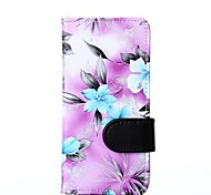 Purple Floral Pattern PU Leather Full Body Cover with Card Solt Cave for iPhone 6