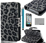 COCO FUN® Grey Leopard PU Leather Full Body hoesje with Screen Protector, Stand and Stylus for iPhone 4/4S