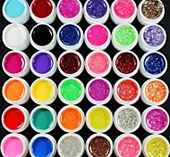 36PCS Mixs Color UV Color Gel within 12 Pure+12 Glitter Hexagon Sheet+12 Glitter Powder(Random Color)