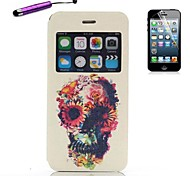 Cartoon Flowes Open the Window PU Leather Full Body with Stylus for iPhone 6