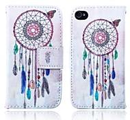 перезвон ветра пу кожаный чехол для всего тела с подставкой и слот для карт памяти для IPhone 4 / 4s