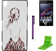 Girl' Back Pattern PC Hard Case with Screen Protector,Stylus and Stand for Sony Z1 L39H