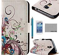 Коко fun® пурпурной розы шелк шаблон PU кожаный чехол с Protecter экраном и стилусом для Samsung Galaxy s4 мини i9190