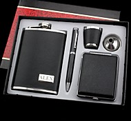 Personalized Gift 5 Piece  9oz Stainless Steel Hip Flask Set