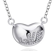 Fine Jewelry 925 Sterling Silver Jewelry Heart with LOVE Pendant Necklace for Women