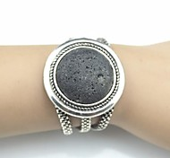 Toonykelly Vintage 18cm Women's Antique Silver Natural Lava Stone Volcano Bracelet(1 Pc) Christmas Gifts
