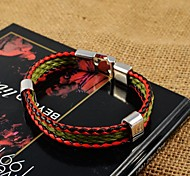 Fashion Unisex's Color Weaver PU Leather Bracelets