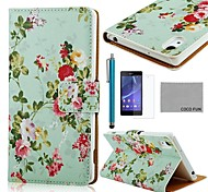 COCO FUN® Flower Green Pattern PU Leather Full Body Case with Screen Protector, Stylus and Stand for Sony Z2 Compact