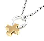 Golden Cross Zinc Alloy Men's Pendant Necklace
