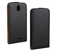 Flip-Open Solid Color Pattern Genuine Leather Full Body Case for HTC Desire 510