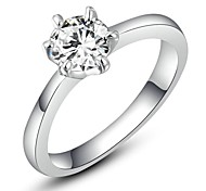 0.5CT 6 Prongs Hearts & Arrows Ideal Cut Swiss Cubic Zirconia Diamond Halo Engagement Ring