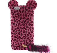 Trendy Leopard Print Flocking Hard Case with Fluffy Tail and Cute Mouse Ears for iPhone 6 plus
