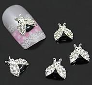 10pcs 3d alliage d'insectes avec des ailes en strass pour la colle à ongles nail art décoration pâte