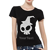 Personalized Rhinestone T-shirts Halloween Ghost Pattern Women's Cotton Short Sleeves