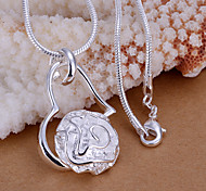 Charming Silver Rose Heart Shape Women's Pendents