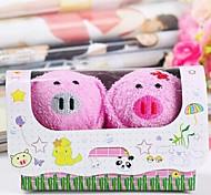 toalla de fibra de forma de regalo de cumpleaños cerdo creativo (color al azar) (2 PC / sistema)