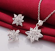 Fashion (Flowers Design) Silver-Plated (Includes Necklace&Earring) Inlaid Zircon Jewelry Set (1 sets)