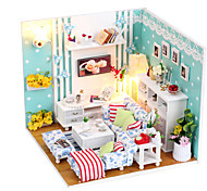 Cute DIY Wooden Handmade Dream Dollhouse Furniture Miniature Living Room Puzzle Toys