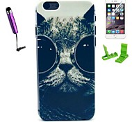 Cat with Glasses Pattern PC Hard Case with Stylus Pen and Screen Protector for iPhone 6