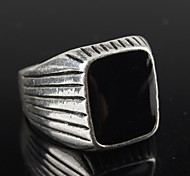 Vintage Contracted Silver Alloy Black Resin Men's Ring