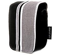 Colorful Stripe Canvas Digital Camera Bag with Shoulder&Waist Strap[Black]