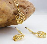Oro 18k chapado en hojas de la joyería de circón
