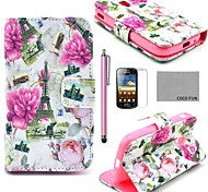 COCO FUN® Floral Eiffel Tower Pattern PU Leather Case with Screen Protector and Stylus for Samsung Galaxy Ace 2 i8160