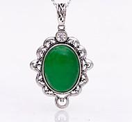 Vintage Jewelry Silver CZ Opal Necklace Pendant