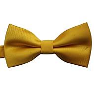 moda cor sólida do vintage gravata borboleta jaquard dos homens de ouro amarelo com pontos de prata