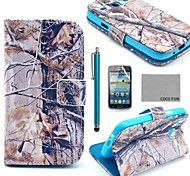 COCO FUN® Grey Branch Pattern PU Leather Case with Screen Protector and Stylus for Samsung Galaxy Core GT-I8260 I8262