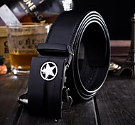 Men's  Fashion Style Bright Star Pure Color Genuine Leather Belt