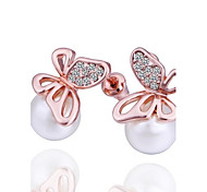 perla de la mariposa de la moda rosa de oro rosa de aretes bañados en oro (oro rosa) (1 par)