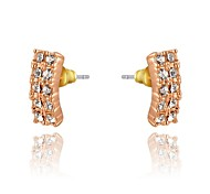 Concise Style 18K Rose/White Gold Plated Jewelry Use Shining Austria Crystal Rectangular Stud Earrings