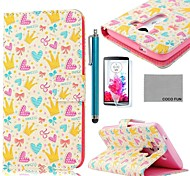 COCO FUN® Yellow Crown Heart Pattern PU Leather Full Body Case with Screen Protector, Stylus and Stand for LG G3 D850
