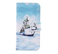 Sea Ship Pattern PU Leather Cover with Stand and Card Slot for iPhone 5C