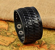 Fashion Men's Black Herringbone Wide Leather Bracelets