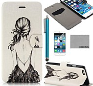 COCO FUN® Back Girl Pattern PU Leather Full Body Case for iPhone 6 6G 4.7 with Screen Protecter, Stand and Stylus