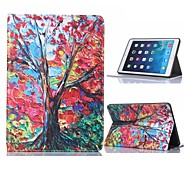 Oil Painting Tree Design Leather Case with Stand for iPad Air 2